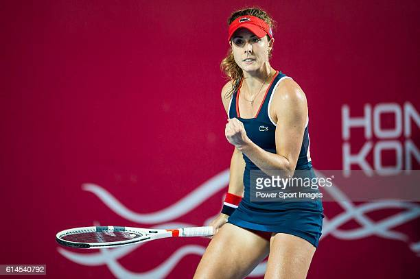 Alize Cornet of France celebrates her victory over Venus Williams of USA during their Singles Round 2 match at the WTA Prudential Hong Kong Open at...