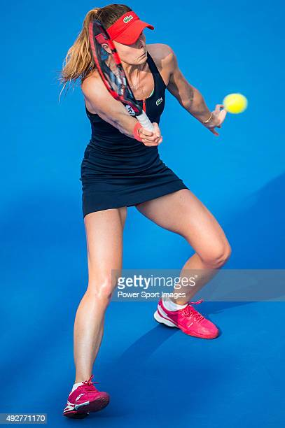 Alize Cornet of France celebrates in action against Yaroslava Shvedova of Kazakhstan during the WTA Prudential Hong Kong Tennis Open on October 15...