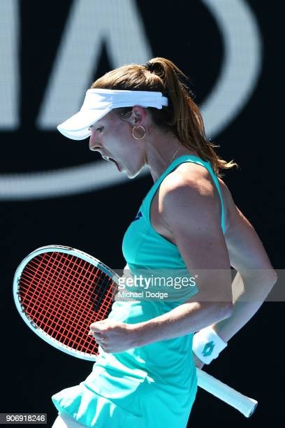 Alize Cornet of France celebrates winning a point in her third round match against Elise Mertens of Belgium on day five of the 2018 Australian Open...