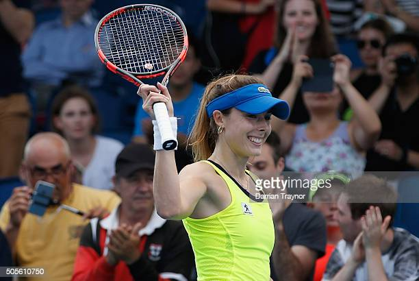 Alize Cornet of France celebrates winning her first round match against Bojana Jovanovski of Serbia during day two of the 2016 Australian Open at...
