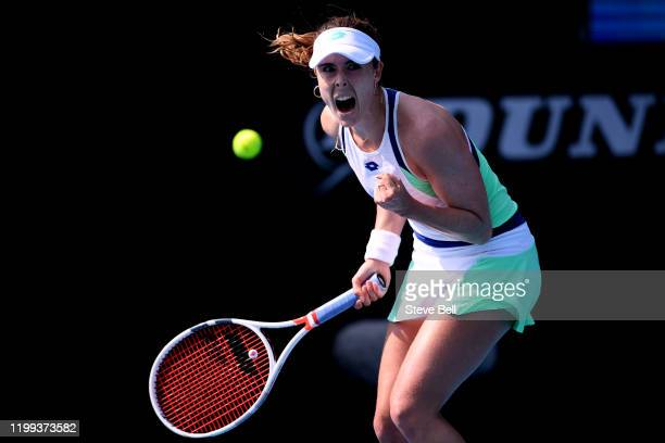 Alize Cornet of France celebrates winning her first round match against Alison Van Uytvanck of Belgium during day four of the 2020 Hobart...
