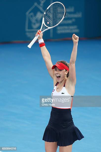 Alize Cornet of France celebrates winning her quarter final match against Dominika Cibulkova of Slovakia during day five of the 2017 Brisbane...