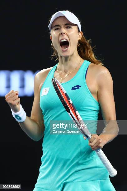 Alize Cornet of France celebrates winning match point in her second round match against Julia Goerges of Germany on day three of the 2018 Australian...