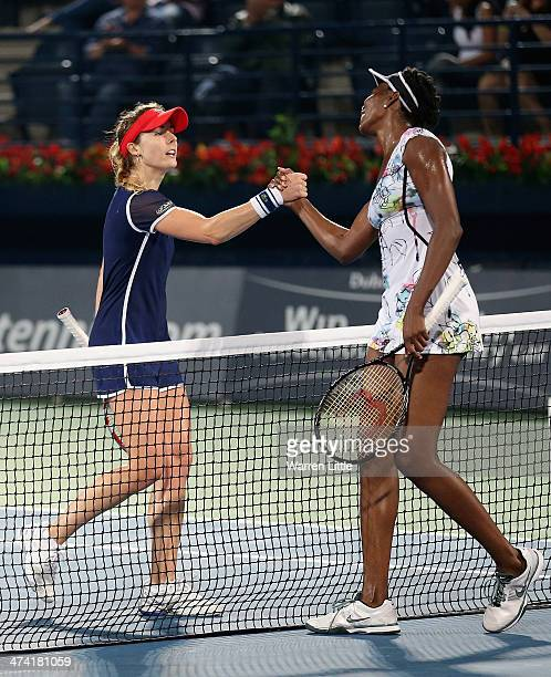 Alize Cornet of France congratulates Venus Williams of the USA ater winning 63 60 in the final of the WTA Dubai Dury Free Tennis Championship at the...