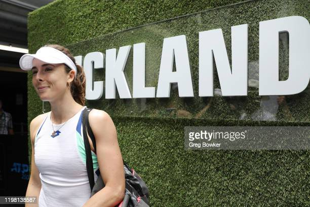 Alize Cornet of France heads out on court for their second match during day three of the 2020 Women's ASB Classic at ASB Tennis Centre on January 08...