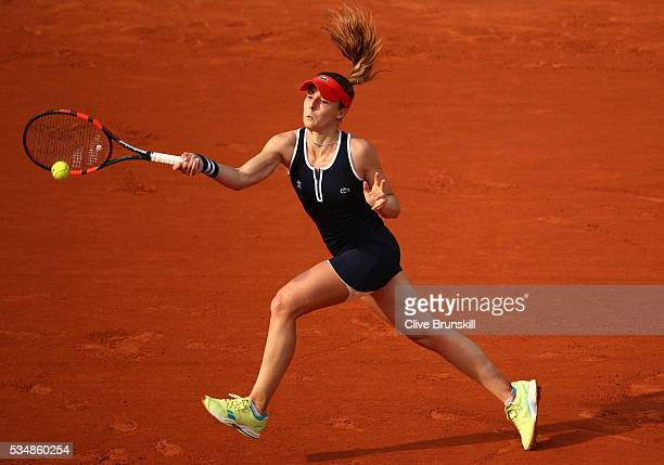 Alize Cornet of France hits a forehand during the Ladies Singles third round match against Venus Williams of the United States on day seven of the...