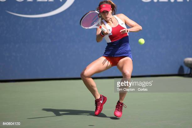 S Open August 28 Alize Cornet of France in action against Heather Watson of Great Britain on court four during the Women's Singles round one match at...