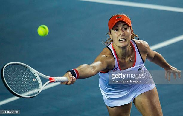 Alize Cornet of France in action against Jelena Janikovic or Serbia during their Singles Quarter Finals match at the WTA Prudential Hong Kong Tennis...