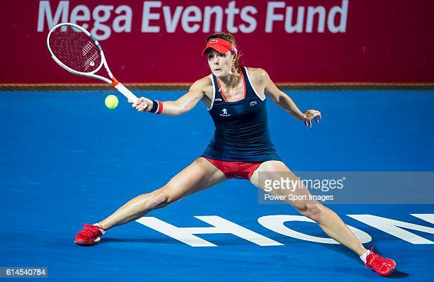 Alize Cornet of France in action against Venus Williams of USA during their Singles Round 2 match at the WTA Prudential Hong Kong Open at the...