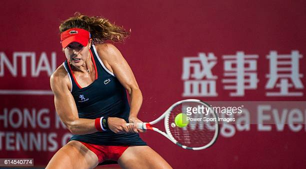 Alize Cornet of France in action against Venus Willians during their Singles Round 2 match at the WTA Prudential Hong Kong Open at the Victoria Park...
