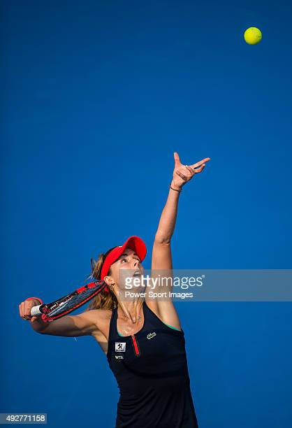 Alize Cornet of France in action against Yaroslava Shvedova of Kazakhstan during the WTA Prudential Hong Kong Tennis Open on October 15, 2015 at the...