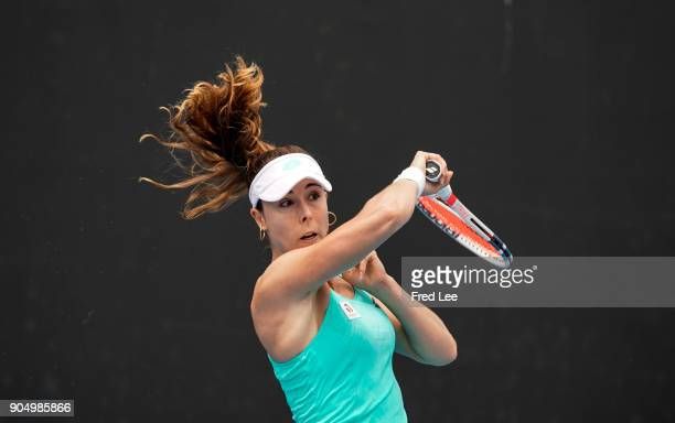 Alize Cornet of France in action during her singles match againsts Xinyu Wang of China on day one of the 2018 Australian Open at Melbourne Park on...