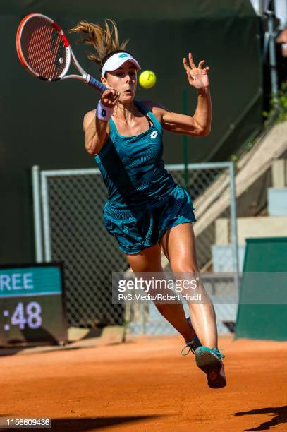 Alize Cornet of France in action during WTA Ladies Open Lausanne at Tennis Club Stade-Lausanne on July 19, 2019 in Lausanne, Switzerland.