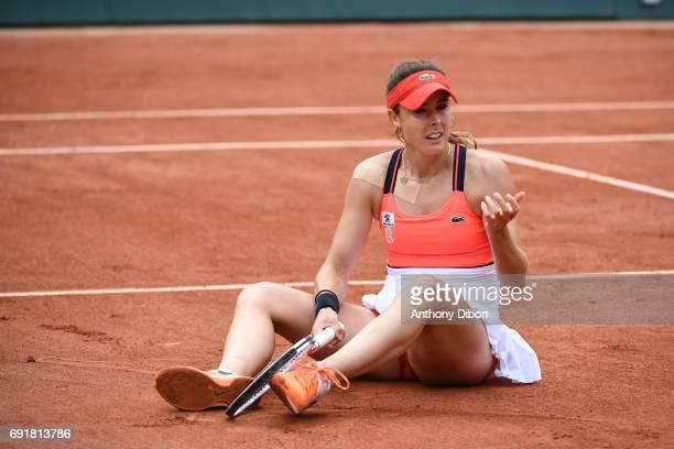 Alize Cornet of France looks dejected during the day 7 of the French Open at Roland Garros on June 3 2017 in Paris France