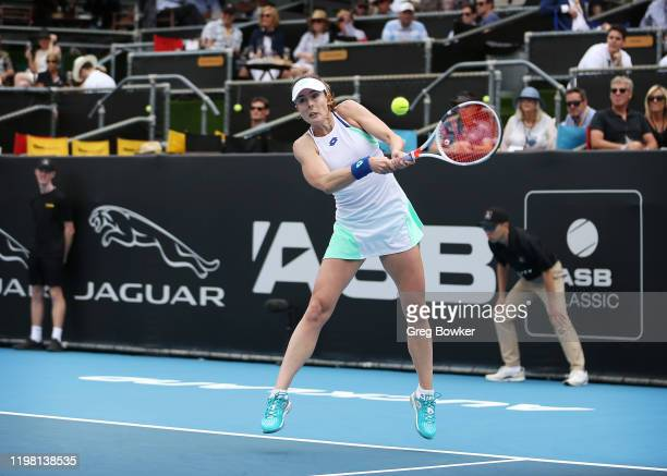 Alize Cornet of France plays a backhand during her second round match against Petra Martic of Croatia during day three of the 2020 Women's ASB...