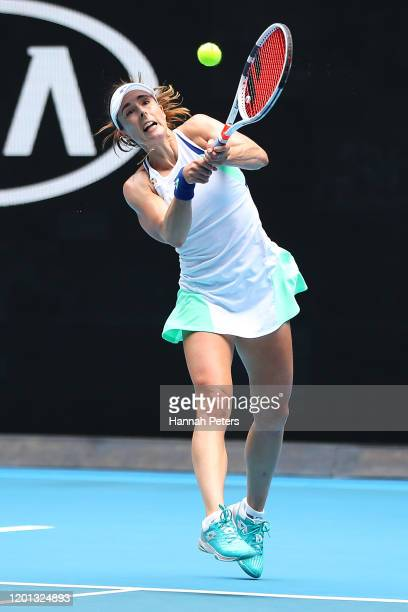 Alize Cornet of France plays a backhand during her Women's Singles second round match against Donna Vekic of Croatia on day four of the 2020...