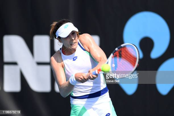 Alize Cornet of France plays a backhand shot during her first round match against Alison Van Uytvanck of Belgium during day four of the 2020 Hobart...