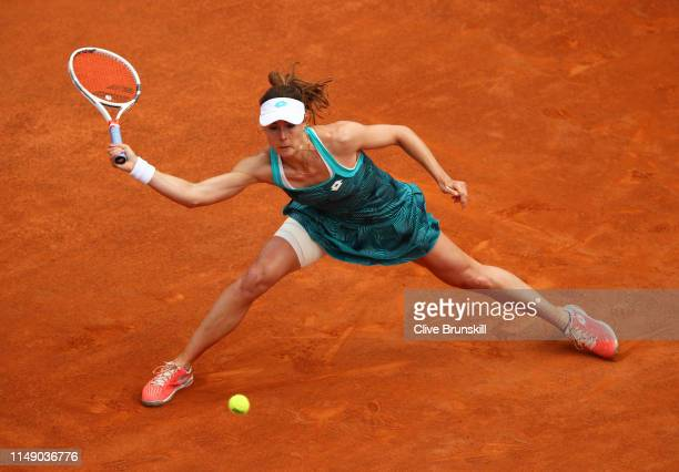 Alize Cornet of France plays a forehand against Aryna Sabalenka of Belarus in their first round match during day three of the International BNL...