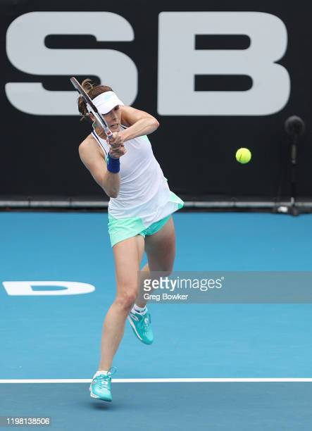 Alize Cornet of France plays a forehand during her second round match against Petra Martic of Croatia during day three of the 2020 Women's ASB...