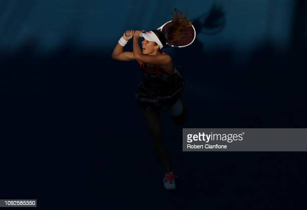 Alize Cornet of France plays a shot during her semifinal match against Sofia Kenin of the USA during day seven of the 2019 Hobart International at...