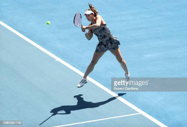 Alize Cornet of France plays a shot during her singles quarter final against Greet Minnen of Belgium during day six of the 2019 Hobart International...
