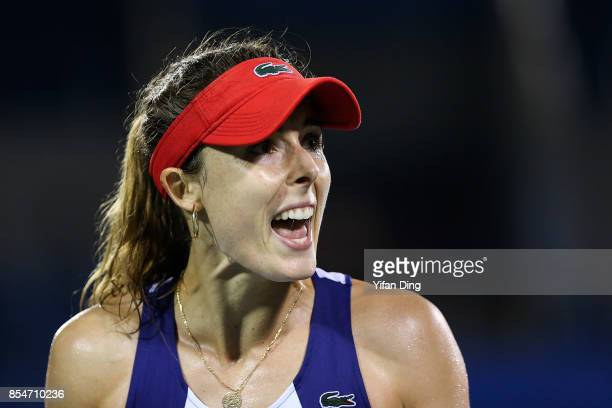 Alize Cornet of France reacts after losing a point during the third round Ladies Singles match against Varvara Lepchenko of the United States on Day...