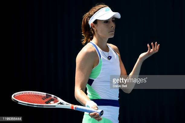 Alize Cornet of France reacts during her first round match against Alison Van Uytvanck of Belgium during day four of the 2020 Hobart International at...