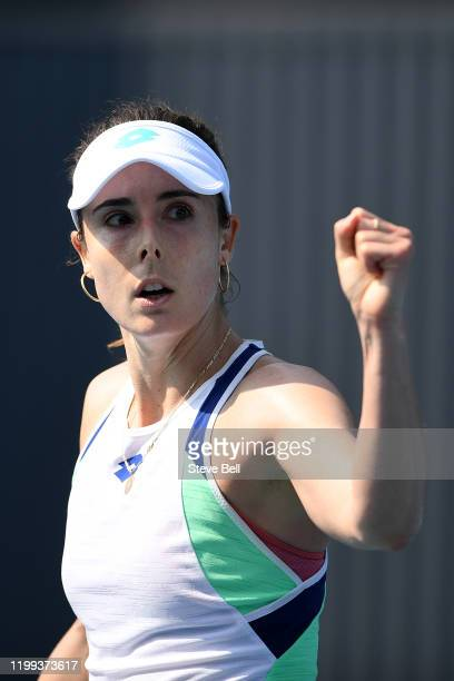 Alize Cornet of France reacts during her first round match against Alison Van Uytvanck of Belgium on day four of the 2020 Hobart International at the...