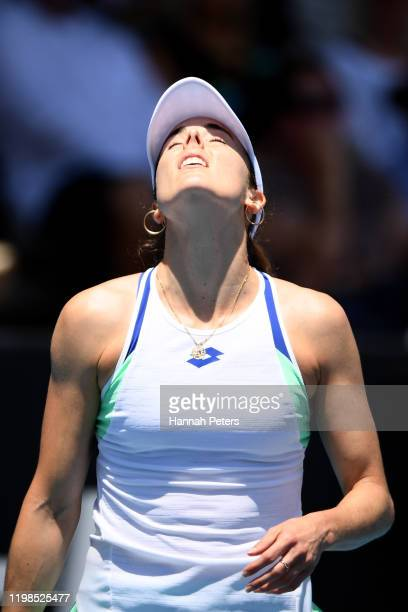 Alize Cornet of France reacts during her quarter final match against Jessica Pegula of USA during day five of the 2020 Women's ASB Classic at ASB...