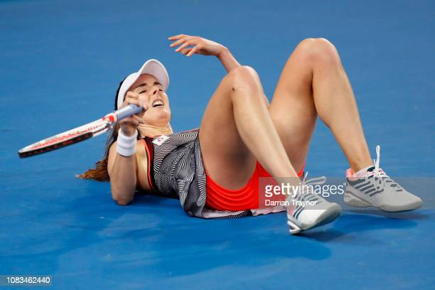 Alize Cornet of France reacts in her second round match against Venus Williams of the United States during day four of the 2019 Australian Open at...