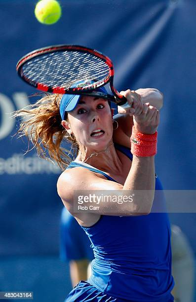 Alize Cornet of France returns a shot during her singles match against Louisa Chirico of the United States at Rock Creek Tennis Center on August 5,...