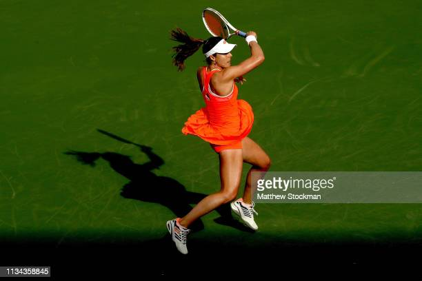 Alize Cornet of France returns a shot to Ajla Tomljanovic of Australia during the BNP Paribas Open at the Indian Wells Tennis Garden on March 07 2019...