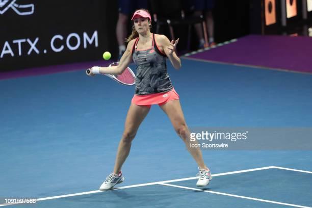 Alize Cornet of France returns the ball to Anastasiya Pavlyuchenkova of Russia during the St. Petersburg Ladies Trophy 2019 tennis tournament match...