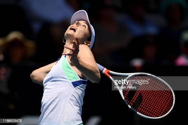 Alize Cornet of France serves during her quarter final match against Jessica Pegula of USA during day five of the 2020 Women's ASB Classic at ASB...