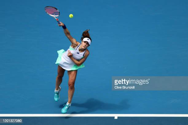 Alize Cornet of France serves during her Women's Singles second round match against Donna Vekic of Croatia on day four of the 2020 Australian Open at...