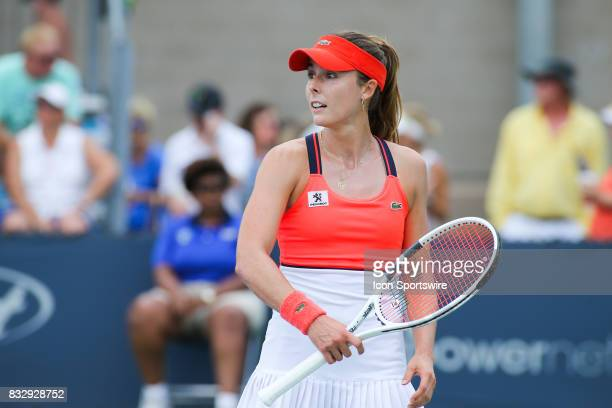Alize' Cornet reacts to a point during the Western Southern Open at the Lindner Family Tennis Center in Mason Ohio on August 16 2017