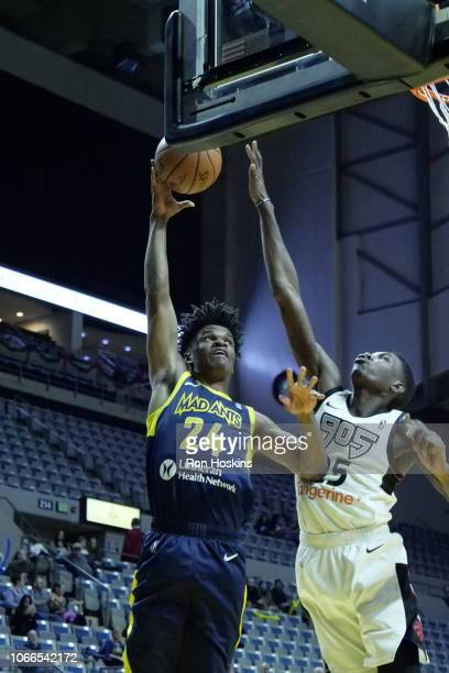 Alize Johnson of the Fort Wayne Mad Ants battles Chris Boucher of the Raptors 905 on November 29 2018 at Memorial Coliseum in Fort Wayne Indiana NOTE...