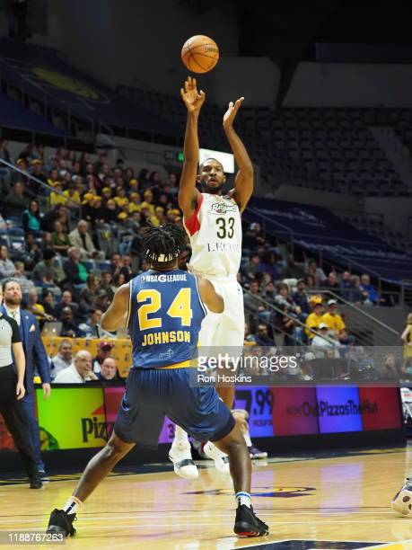 Alize Johnson of the Fort Wayne Mad Ants battles Vitto Brown of the Erie Bayhawks on December 14 2019 at Memorial Coliseum in Fort Wayne Indiana NOTE...