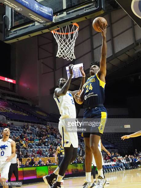Alize Johnson of the Fort Wayne Mad Ants shoots the ball against the Delaware Blue Coats on February 09, 2020 at Memorial Coliseum in Fort Wayne,...