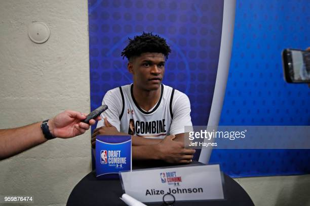 Alize Johnson talks to the media during the NBA Draft Combine Day 1 at the Quest Multisport Center on May 17 2018 in Chicago Illinois NOTE TO USER...