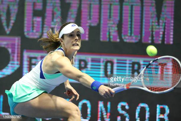 Alize Korne during a game against Maria Sakkari for the Ladies Trophy 2020 tournament in St. Petersburg, Russia. 13 february 2020