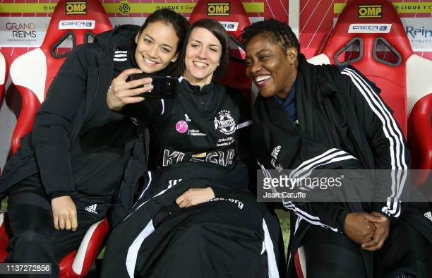 Alize Lim Claudia Tagbo during a charity match benefitting 'Fondation des Femmes' and 'Relais 51' between former players of Stade de Reims and...