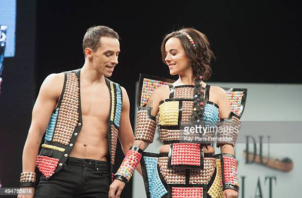 Alizee and her boyfriend Gregoire Lyonnet walk the runway during the Chocolate fashion show as a part of the Salon Du Chocolat 2015 Chocolate Fair at...