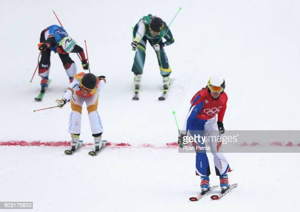 Alizee Baron of France crosses the line to win the Freestyle Skiing Ladies' Ski Cross Small Final on day fourteen of the PyeongChang 2018 Winter...