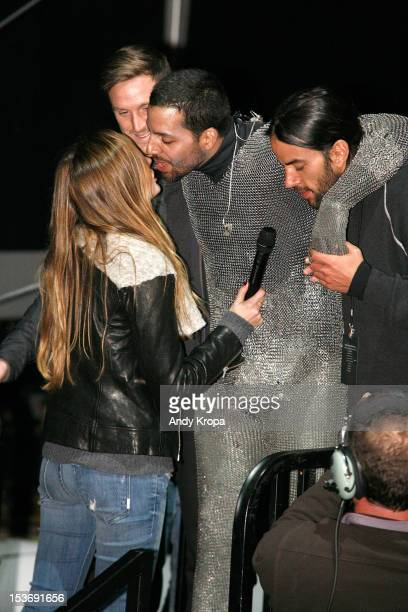 Alizee Guinochet and David Blaine attend the Electrified 1 Million Volts Always On stunt finale at Pier 54 on October 8 2012 in New York City