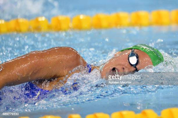 Alizee Morel competes in the 400m Women's Individual Freestyle on day six of the French National Swimming Championships on May 28, 2017 in...