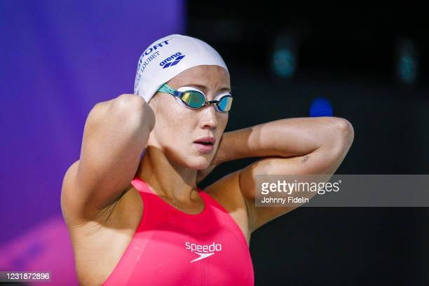 Alizee MOREL of France competes in 200m Freestyle Final B during the Meeting Open Mediterranee Marseille - Golden Tour on March 21, 2021 in...