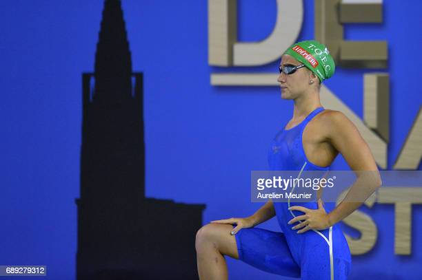 Alizee Morel prepares to compete in the 400m Women's Individual Freestyle on day six of the French National Swimming Championships on May 28, 2017 in...
