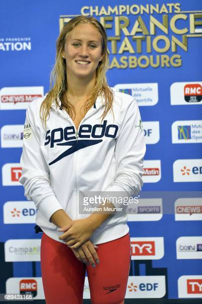 Alizee Morel reacts on the podium after winning the 400m Women's Individual Freestyle Final on day six of the French National Swimming Championships...
