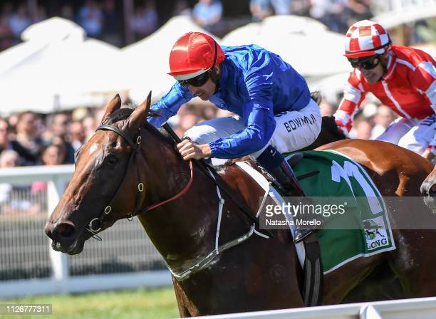Alizee ridden by Hugh Bowman wins the Yulong Futurity Stakes at Caulfield Racecourse on February 23 2019 in Caulfield Australia
